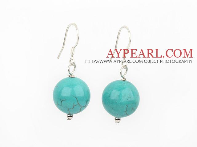 Nice Simple Style 14Mm Burst Pattern Blue Turquoise Ball Drop Earrings