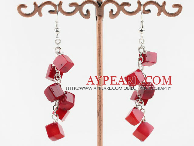 6Mm Thick Rhombus Red Coral Link Charm Dangle Earrings With Fish Hook