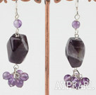 Lovely Amethyst Stone Round Crystal Cluster Dangle Earrings With Fish Hook