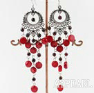 Wonderful Long Style Caky Red Coral And Round Garnet Loop Metal Charm Dangle Earrings