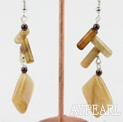Wholesale three colored jade dangle earrings