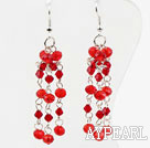 Wholesale Long Style Red Crystal Dangle Earrings