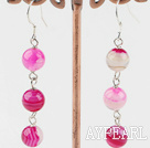 8mm pink agate dangle earrings