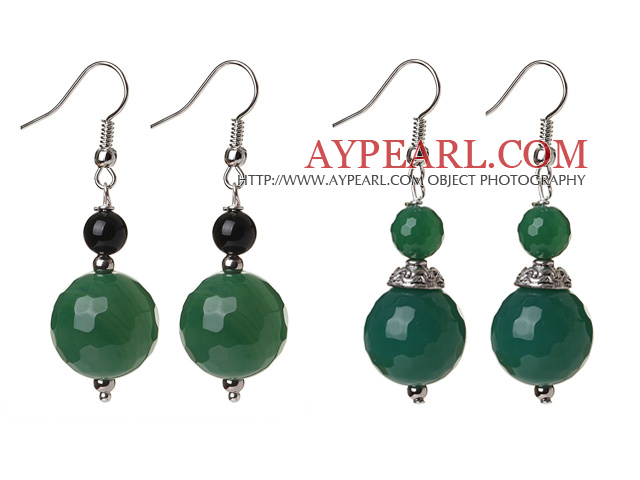 2 Pcs Classic Design Faceted Green Agate Ball And Black Agate Earrings