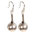 Simple Design Frosted Metal Ball Garnet Beads Dangle Earrings