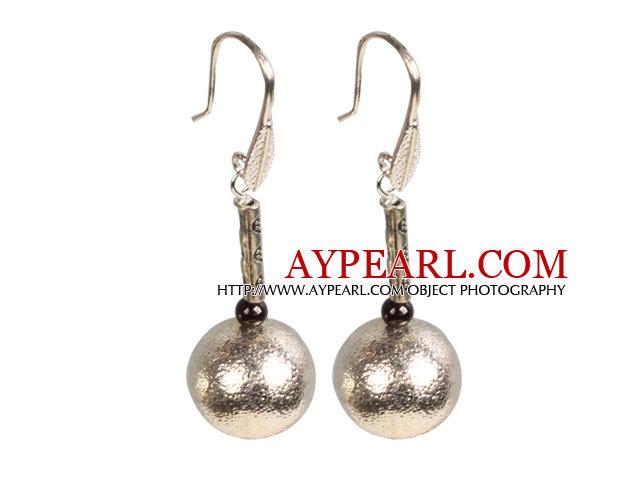 Simple Design Frosted Metal Ball Garnet Beads Dangle Earrings