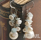Wholesale cluster style white pearl and sea shell bead earrings