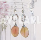 Beautiful 16*20Mm Three Colored Jade And Loop Flower Metal Charm Earrings With Fish Hook
