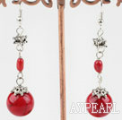Beautiful Red Coral And Round Bloodstone Loop Charm Drop Earrings With Fish Hook