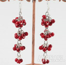 Beautiful Long Chain Loop Cluster Style Round Red Bloodstone Dangle Earrings