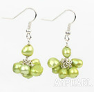 Simple Design Dark Green Freshwater Pearl Earrings