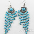 Wholesale chandelier shape 4mm blue turquoise dangle earrings