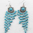 Wholesale chandelier shape 4mm blue turquoise dangle earrings