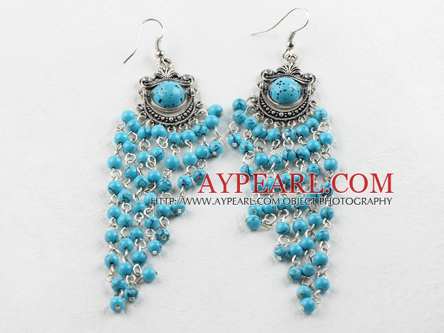 chandelier shape 4mm blue turquoise dangle earrings