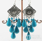 Wholesale chandelier shape blue turquoise chandelier earrings