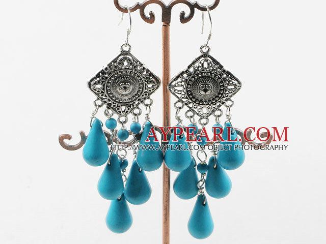Kronleuchter Form Blau Türkis Ohrringe