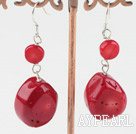 Wholesale flat round red coral earrings