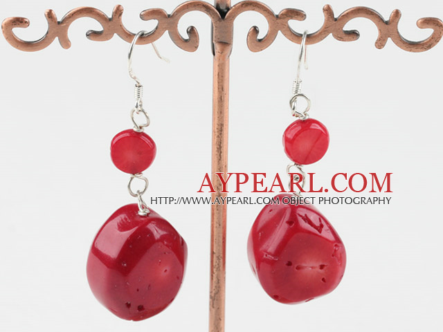 Lovely Short Style Flat Round Red Coral Dangle Earrings With Fish Hook