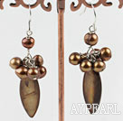 Wholesale dyed brown pearl shell earrings
