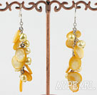 Wholesale dyed yellow pearl shell earrings