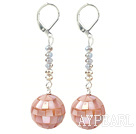 Dangle Stil Pink Mosaikk Shell og Gray Crystal lange øredobber