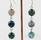 Fashion Internal Burst Pattern Blue Agate Dangle Earrings With Fish Hook