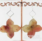 Large Style 52Mm Three Colored Jade Flower Loop Dangle Earrings With Fish Hook