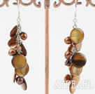 Fashion Loop Chain Cluster Style Dyed Brown Pearl And Disc Shell Dangle Earrings