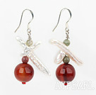 Fashion White Cross Pearl And Funtastic Red Round Agate Drop Earrings With Fish Hook
