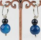 Wholesale black pearl and blue agate earrings