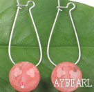 Wholesale Fashion Simple Style Faceted 14Mm Cherry Quartz Ball Drop Earrings With Hoop Earwires