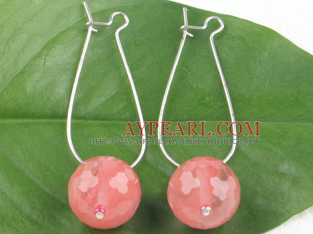 Fashion Simple Style Faceted 14Mm Cherry Quartz Ball Drop Earrings With Hoop Earwires
