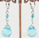 Wholesale drop shaped blue crystal earrings