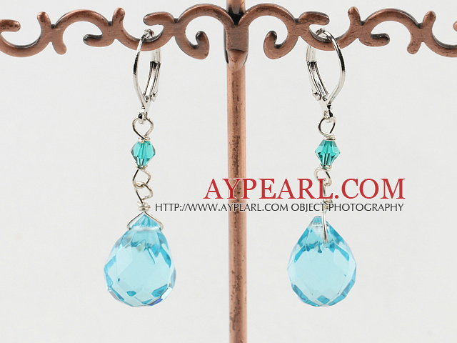 drop shaped blue crystal earrings