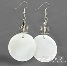 Wholesale Lovely 30Mm White Disc Shell Butterfly Metal Charm Dangle Earrings With Fish Hook
