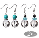 2 Pcs Beautiful Summer Design 14mm Clear Crystal And Turquoise Garnet Blue Jade Beads Earrings