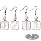 2 Pcs Beautiful Summer Design Rectangle Shape Natural Clear Crystal And White Sea Shell Pearl Beads Earrings