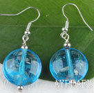 Wholesale lovely round shape blue colored glaze earrings