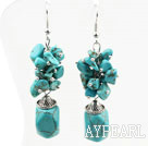 Fashion Dangle Style Assorted Blue Turquoise Cluster Earrings With Fish Hook