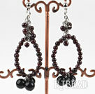 Wholesale New design big style garnet and black pearl earrings