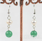 Lovely Style White Freshwater Pearl and Aventurine Earrings