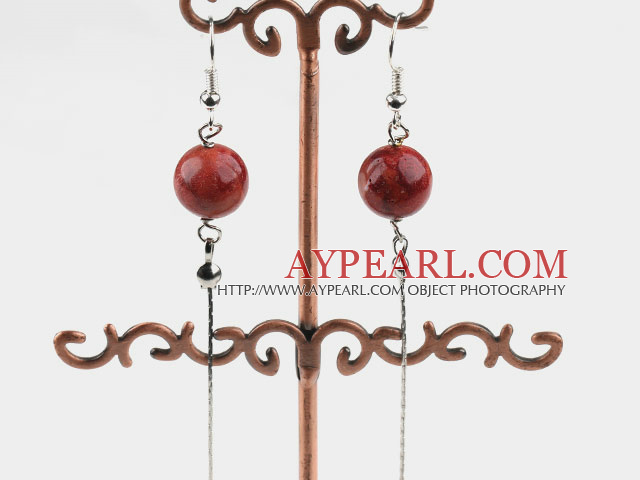 Lovely Long Style 12Mm Round Grass Coral Dangle Earrings With Fish Hook