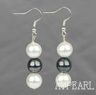 Fashion 10Mm Round Black And White Seashell Beaded Dangle Earrings With Fish Hook