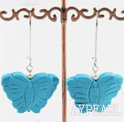 Wholesale fashion white pearl and blue turquoise butterfly earrings
