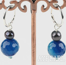 Beautiful Cute Faceted Blue Agate Ball And Black Freshwater Pearl Earrings With Ear Hoops