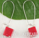cubic red coral earrings