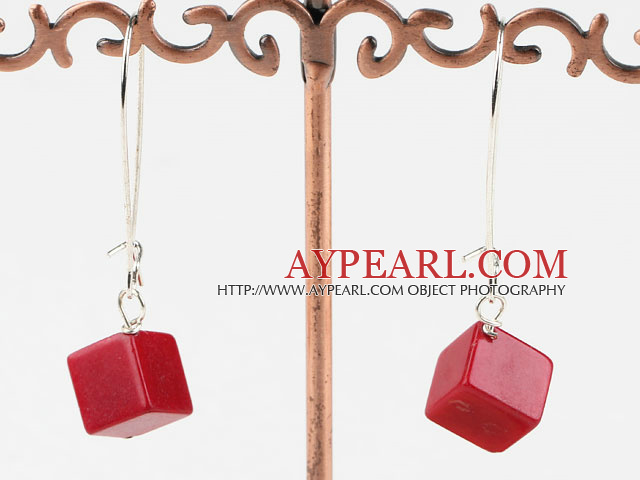 Nice Short Style Cubic Red Coral Dangle Earrings With Hook Earwires