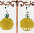 Wholesale green pearl and olive jade earrings