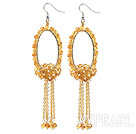 Wholesale Fashion Style Faceted Citrine Long Dangle Tassel Earrings with Big Hoop