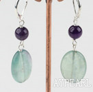 Wonderful Oval Shape Amethyst And Rainbow Flourite Dangle Earrings With Lever Back Hook